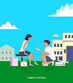 사람, 쇼핑 (상업활동), 여름, 커플, 선물 (인조물건)