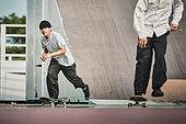 스케이트보드, 스케이트보딩, 스포츠, 라이프스타일, 취미, 타기, 대학생, 친구, 친구 (컨셉)