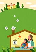 교육 (주제), 학교, 학생, 코로나바이러스 (바이러스), 코로나19 (코로나바이러스), 출석 (움직이는활동), 엄마, 학교건물 (교육시설), 학교건물, 달력, 달력날짜 (Setting)