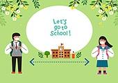 교육 (주제), 학교, 학생, 코로나바이러스 (바이러스), 코로나19 (코로나바이러스), 출석 (움직이는활동), 학교건물 (교육시설), 생활속거리두기 (사회이슈), 교복