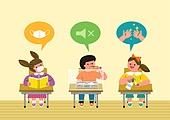 교육 (주제), 학교, 학생, 코로나바이러스 (바이러스), 코로나19 (코로나바이러스), 말풍선, 교실, 마스크 (방호용품), 손세정제 (인조물건)