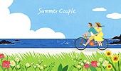 커플, 여름, 풍경 (컨셉), 데이트, 구름, 바다, 자전거
