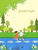 커플, 여름, 풍경 (컨셉), 데이트, 돌다리, 숲, 나무, 시냇물 (유수)