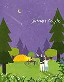 커플, 여름, 풍경 (컨셉), 데이트, 밤 (시간대), 유성 (우주), 초승달, 캠핑, 숲