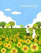 커플, 여름, 풍경 (컨셉), 데이트, 해바라기, 꽃, 꽃밭, 프로포즈