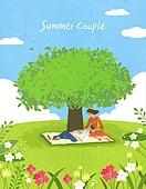 커플, 여름, 풍경 (컨셉), 데이트, 나무, 구름, 꽃, 풀 (식물)
