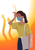 여름, 뜨거움 (컨셉), 마스크 (방호용품), 코로나바이러스 (바이러스), 코로나19 (코로나바이러스), 여성 (성별)