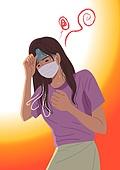 여름, 뜨거움 (컨셉), 마스크 (방호용품), 코로나바이러스 (바이러스), 코로나19 (코로나바이러스), 여성 (성별), 현기증
