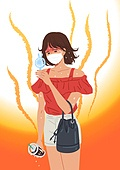여름, 뜨거움 (컨셉), 마스크 (방호용품), 코로나바이러스 (바이러스), 코로나19 (코로나바이러스), 여성 (성별), 선풍기
