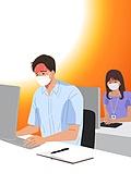 여름, 뜨거움 (컨셉), 마스크 (방호용품), 코로나바이러스 (바이러스), 코로나19 (코로나바이러스), 사무실