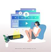 일러스트, 5G, 스피커, 인공지능, 인공지능스피커 (스피커), 기술 (과학과기술)