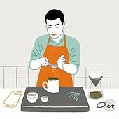 요리 (음식상태), 상반신, 라이프스타일, 취미, 집, 청년 (성인), 앞치마