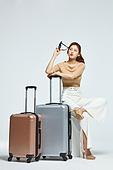 여성, 여행, 여행자 (역할), 여행가방 (짐), 기다림, 지루함 (컨셉)