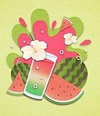 종이 (재료), 페이퍼아트, 여름, 음료, 음료 (Food And Drink), 과일, 수박