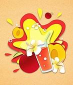 종이 (재료), 페이퍼아트, 여름, 음료, 음료 (Food And Drink), 과일, 복숭아, 천도복숭아