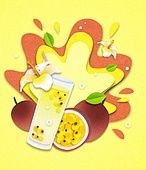 종이 (재료), 페이퍼아트, 여름, 음료, 음료 (Food And Drink), 과일, 패션프루트 (열대과일)