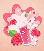 종이 (재료), 페이퍼아트, 여름, 음료, 음료 (Food And Drink), 과일, 산딸기