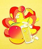 종이 (재료), 페이퍼아트, 여름, 음료, 음료 (Food And Drink), 과일, 망고, 애플망고