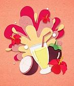 종이 (재료), 페이퍼아트, 여름, 음료, 음료 (Food And Drink), 과일, 망고스틴