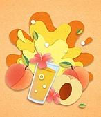 종이 (재료), 페이퍼아트, 여름, 음료, 음료 (Food And Drink), 과일, 복숭아, 황도복숭아 (복숭아)