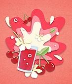 종이 (재료), 페이퍼아트, 여름, 음료, 음료 (Food And Drink), 과일, 체리