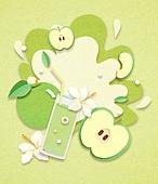 종이 (재료), 페이퍼아트, 여름, 음료, 음료 (Food And Drink), 과일, 사과, 그래니스미스애플 (사과)