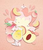 종이 (재료), 페이퍼아트, 여름, 음료, 음료 (Food And Drink), 과일, 복숭아, 백도 (복숭아)