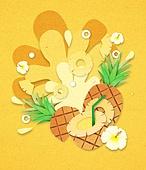 종이 (재료), 페이퍼아트, 여름, 음료, 음료 (Food And Drink), 과일, 파인애플