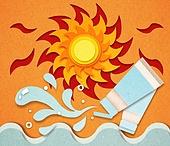 종이 (재료), 페이퍼아트, 뜨거움 (컨셉), 뜨거움, 여름, 태양, 자외선, 폭염, 화장품 (몸단장제품)