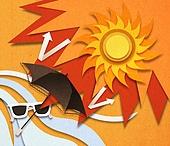 종이 (재료), 페이퍼아트, 뜨거움 (컨셉), 뜨거움, 여름, 태양, 자외선, 폭염, 양산 (액세서리), 선글라스