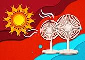 종이 (재료), 페이퍼아트, 뜨거움 (컨셉), 뜨거움, 여름, 태양, 자외선, 폭염, 선풍기