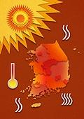 종이 (재료), 페이퍼아트, 뜨거움 (컨셉), 뜨거움, 여름, 태양, 자외선, 폭염, 한국지도 (지도), 지도