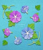 종이 (재료), 페이퍼아트, 꽃, 여름, 식물, 잎, 나팔꽃