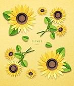 종이 (재료), 페이퍼아트, 꽃, 여름, 식물, 잎, 해바라기
