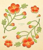 종이 (재료), 페이퍼아트, 꽃, 여름, 식물, 잎, 능소화