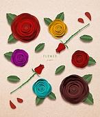 종이 (재료), 페이퍼아트, 꽃, 여름, 식물, 잎, 장미