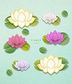 종이 (재료), 페이퍼아트, 꽃, 여름, 식물, 잎, 연꽃