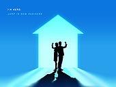 강렬한빛 (발광), 비즈니스, 스타트업, 시작, 실루엣, 희망 (컨셉), 낙천적 (컨셉), 미래, 눈부신빛 (발광), 도전, 파트너십 (팀워크)