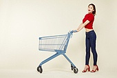 여성, 쇼핑 (상업활동), 상업이벤트 (사건), 쇼핑카트, 미소