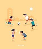 폭염, 여름, 뜨거움 (컨셉), 마스크 (방호용품), 코로나바이러스 (바이러스), 코로나19 (코로나바이러스), 축구, 코트 (스포츠장소), 어린이 (나이)