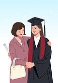 엄마, 딸, 가족, 졸업, 졸업가운