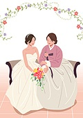 엄마, 딸, 가족, 결혼, 결혼식, 신부대기실 (대기실), 한복, 웨딩드레스