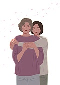 엄마, 딸, 가족, 포옹, 중년여자 (성인여자), 노인 (성인)