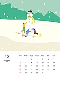 달력 (시간도구), 달력, 풍경 (컨셉), 계절, 2020년, 12월, 눈 (얼어있는물), 눈사람