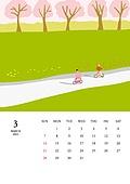 달력 (시간도구), 달력, 풍경 (컨셉), 계절, 2021년, 봄, 3월, 벚꽃