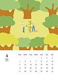 달력 (시간도구), 달력, 풍경 (컨셉), 계절, 2021년, 봄, 나무, 식목 (환경보호)