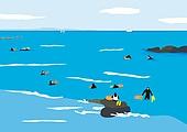 풍경 (컨셉), 자연 (주제), 제주도 (대한민국), 해녀, 바다