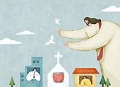 종교, 기독교, 마스크 (방호용품), 코로나19 (코로나바이러스), 기도 (커뮤니케이션컨셉), 예수 그리스도 (Christianity)