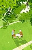 여름, 숲, 풍경 (컨셉), 나무, 풀 (식물), 노인커플 (이성커플)