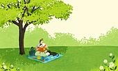여름, 숲, 풍경 (컨셉), 나무, 풀 (식물), 아기 (나이), 엄마